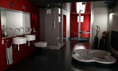 red/black/white bathroom