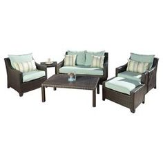 6-Piece Carey Patio Seating Group in Light Blue
