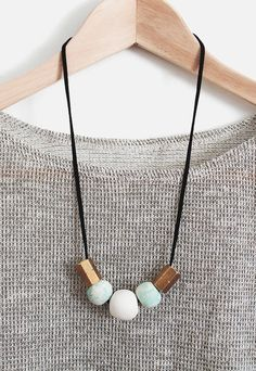 DIY // Statement Necklace: beads of Sculpey Clay & brass pipe fittings