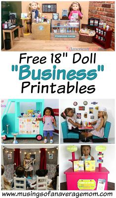 "Free business printables for American Girl and 18"" dolls including free cafe, restaurant, store, ice cream and more!"