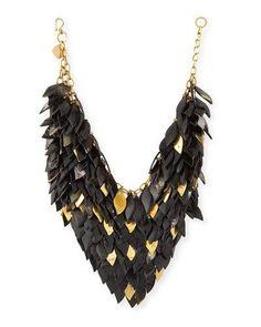 Y2FYU Ashley Pittman Tanzu Dark Horn Layered Chain Leaf Necklace