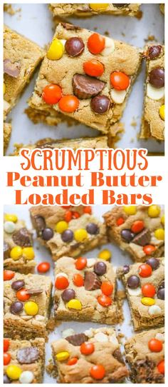 Seriously, you won't want to miss out on these Scrumptious Peanut Butter Loaded Bars! They are so soft, extra thick and definitely loaded with peanut butter flavor, delectable white chocolate chips, peanut butter chips, and Reese's Baking Peanut Butter Cups and Reese's Pieces Candy. A real peanut butter lover's dream.#peanutbutter #peanutbutterbars #peanutbutterlover #reeses #reesesbars Peanut Butter Oatmeal Bars, Peanut Butter Cup Cookies, Peanut Butter Candy, Chocolate Peanut Butter, Healthy Desserts, Easy Desserts, Dessert Recipes, Vegan Cupcakes, Baking Cups