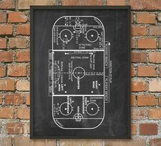 Ice Hockey Rink Print Ice Hockey Game Zones Ice by QuantumPrints Ice Hockey Rules, Hockey Games, Hockey Mom, Hockey Stuff, Hockey Players, Hockey Crafts, Hockey Decor, Nhl, Hockey Bedroom