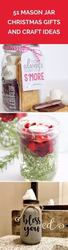51 Mason Jar Christmas Gifts and Craft Ideas | Find the best craft ideas for how to decorate mason jars, for Christmas gifts that everyone on your list will love.