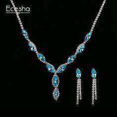 Eceshaクリスタルブライダルジュエリーセット模造ダイヤモンドドロップイヤリングペンダントネックレスジュエリーセットアフリカのビーズジュエリーセット