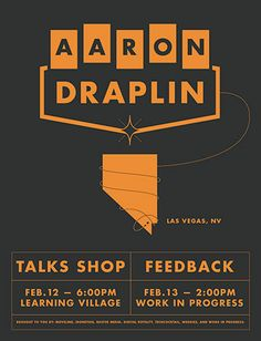 Aaron Draplin - Talks Shop Poster Band Posters, Event Posters, Retro Design, Logo Design, Draplin Design, Typography, Lettering, Comic Book Covers, Graphic Design Inspiration