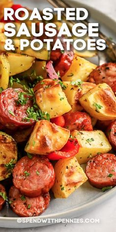 Roasted sausage and potatoes has just 6 easy ingredients in a savory dressing. A delicious supper can be on the table in under an hour with our simple recipe! #spendwithpennies #roastedsausageandpotatoes #entrée #recipe #oven #onepan #peppers #roasted #sheetpan #easy