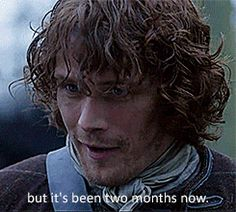 """Jamie on when Claire's last period was  """"You kept track?"""" #Outlander #Awkward"""