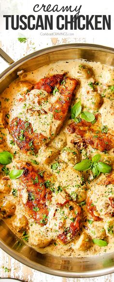 Creamy Tuscan Chicken bathed in a sun-dried tomato, Parmesan garlic cream sauce on your table in just over 30 minutes! It's quick, easy, pantry friendly and all made in one skillet! #30minutemeals #chicken #chickenrecipes #easyrecipe #recipes #recipeoftheday #recipeideas #recipeseasy #dinner #dinnerrecipes #dinnerideas #dinnerideas #recipe #recipeoftheday #recipeideas #recipesfordinner #Tuscanchicken #Parmesan #onepotwonder #skilletchicken #chickenskillet via @carlsbadcraving