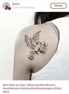 Bird and flower tattoo - tattoodo