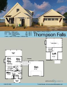 55 best 1 1 2 Story House Plans images on Pinterest in 2018   2     29415 Thompson Falls This 1 5 story  Modern Cottage cabin plan is  highlighted by a