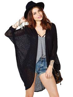 Solid fashion bat sleeve elegant long cardigans HY-141M011