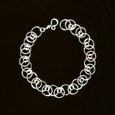 Chain Bracelet Circle Link Chainmaille Sterling Silver Wirework Jewelry Wire Hammered