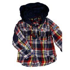 Retour Overhemd gerit Baby met capuchon. Trendy en cool. #Retourjeans #babykleding #babyoverhemd #blouse #capuchon www.kienk.nl kinderkleding en babykleding