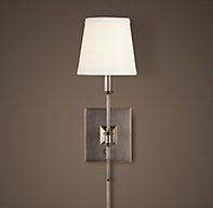 RH's Library Sconce:Quiet lines make up the illuminating Library Sconce.