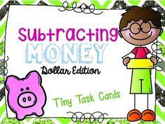 Subtracting Money (Bills/Dollar) Edition Tiny Task Cards