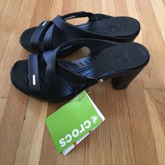 88bd396a1c1a Shop Women s crocs Black size 9 Heels at a discounted price at Poshmark.