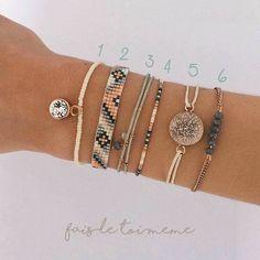 DIY kit Collection 6 Bracelets beige light and cutebracelets Bead Loom Bracelets, Beaded Bracelet Patterns, Bracelet Crafts, Woven Bracelets, Ankle Bracelets, Jewelry Crafts, Handmade Jewelry, Diy Girly Bracelets, Strand Bracelet