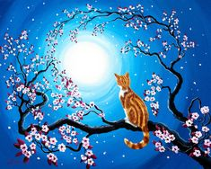 Orange Tabby Painting - Creamsicle Kitten In Blue Moonlight by Laura Iverson