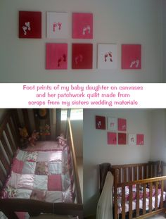 baby foot prints on a canvas = perfect wall art for babys room...
