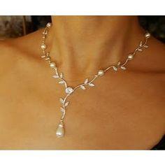 Eden Rhinestone Leaves Swarovski Pearl Necklace - LuxeDeluxe Etsy Shop