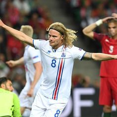 Iceland's Bjarnason scores against Portugal - Iceland midfielder Birkir Bjarnason celebrates scoring the equaliser against Portugal.