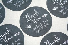 "Wedding thank you labels, personalized stickers, envelope seals. 2"" round stickers, 20. Matte white, Kraft brown, or Chalkboard black. 