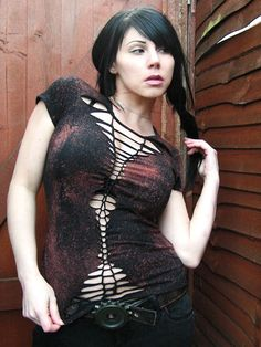 Zombie Goth Post Apocalyptic Industrial Cyberpunk Shredded Braided Woven Shirt Distressed Womens Clothing. $35.00, via Etsy.