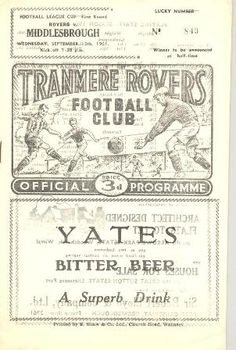 Tranmere Rovers v Middlesbrough1961