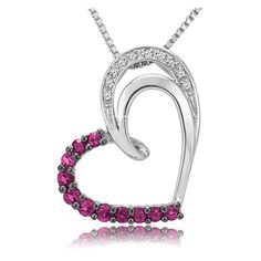 $19.99 - Pink Sapphire Diamond Accent Sterling Silver Heart Pendant