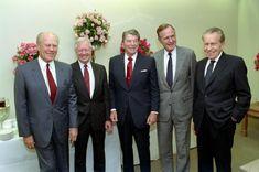 Gerald R. Ford, Jimmy Carter, Ronald Reagan, George Bush, and Richard Nixon at the George Bush Presidential Library dedication. 11/4/91.