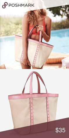 """Large Victoria's Secret canvas beach tote - NEW! Large beach tote, still in packaging. This will fit everything you need for a quick overnight getaway or a day trip to the beach!  Brand new with tags. Tote measurement:  15""""L x 6""""W x 13.5""""H; 100% Brushed Canvas. From a pet-free, smoke-free home. Victoria's Secret Bags Totes"""