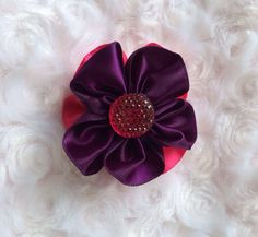 Pink and Plum Satin Flower Hair Clip, Alligator Clip, Girls Hair Accessory, Hair Accessories, Flower Hair Barrette, Hair Bow, Headband Clip by BandsForBabes, $3.25