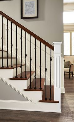 40 Unique Indoor Wood Stairs Design Ideas You Never Seen Before - HOMEWOWDECOR In theory, there is nothing technically difficult about building wooden stairs, but it is considered to be one of the … House Stairs, Staircase Decor, Railing Design, Iron Staircase, Wrought Iron Stairs, Stair Railing Makeover, Staircase Makeover, Stairs Design