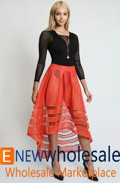 See-through high waisted hi-low skirt,  secured along the top by stitching. - See more at: http://enewwholesale.com/eib-50j45.html#sthash.hx0W4DZu.dpuf
