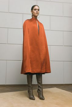 Marios Schwab - Fall 2015 Ready-to-Wear - Copper cape and moss or olive green boots.