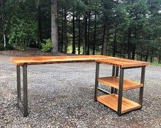 L-shaped Desk. Wood and steel desk. Old desk. Executive desk,Envío libre en forma de L escritorio. Reclaimed Wood Desk, Rustic Desk, Industrial Desk, Reclaimed Lumber, Industrial Furniture, Wood Furniture, Furniture Vintage, Wood Wood, Pallet Wood