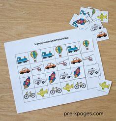 Printable Transportation Pattern Activity