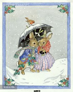 Two rabbits shelter from the snow under an umbrella. - Illustration by Molly Brett. Christmas Images, Christmas Art, Winter Christmas, Vintage Christmas, Christmas Bunny, Christmas Jokes, Magical Christmas, Christmas Greetings, Beatrix Potter