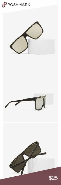 """#19 nasty gal 🐥🌈 Get pierced without the pain. The Runaway Shades feature black angular frames, silver metallic mirrored lenses, and jump ring design at top. Pair them with a bodysuit, skinnies, and chain crossbody. By Rad & Refined.  *Synthetic Materials  *5.5""""/15.2cm width  *2""""/5.1cm height  *Made in U.S.A. Nasty Gal Accessories Glasses"""