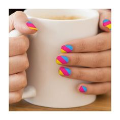 Pansexuality flag Minx® Nail Art ($24) ❤ liked on Polyvore featuring beauty products, nail care, nail treatments y nails