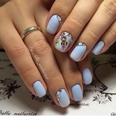 Blue nail art, Nails ideas 2017, Nails with dragonfly, Nails with rhinestones…