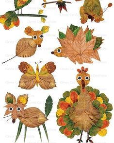 Clip Art {Fall / Autumn Animal Clipart} Unique autumn clip art set of googly-eyed whimsical animals, made with real leaves from my garden.Unique autumn clip art set of googly-eyed whimsical animals, made with real leaves from my garden. Fall Crafts For Kids, Toddler Crafts, Kids Crafts, Art For Kids, Art Children, Autumn Art Ideas For Kids, Fall Art For Toddlers, Fall Activities For Kids, Crafts Cheap