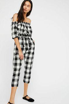 3cbba4dc012 Anthropologie Rue Stiic Handmade Nashville Gingham Jumpsuit  198 NEW Size  Small  fashion  clothing
