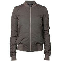 RICK OWENS Flight Bomber Padded Jacket (€400) ❤ liked on Polyvore featuring outerwear, jackets, coats, tops, blouson jacket, zipper jacket, flight jacket, padded jacket and grey bomber jacket