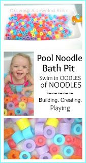 Pool Noodle Bath Pit - Cut 4 pool noodles from the dollar store into 2-inch segments. Super fun!