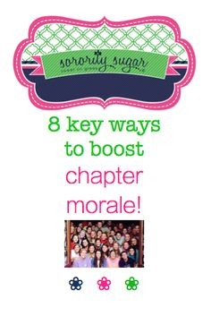 Enthusiastic chapter morale is at the heart of your sisterhood. High morale makes sisters want to be happily involved. Here some some tips for keeping spirits elevated, which leads to increased participation! <3 BLOG LINK: http://sororitysugar.tumblr.com/post/105966556939/8-ways-to-boost-sorority-morale-for-2015#notes