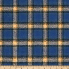 Kaufman Mammoth Flannel Plaid Pacific from @fabricdotcom  Designed for Robert Kaufman Fabrics, this soft double napped (brushed on both sides) medium weight (6.4 oz per square yard) flannel is perfect for shirts, loungewear and more! The flannel is a yarn dyed plaid of camel, black, grey and medium blue. Remember to allow extra yardage for pattern matching.
