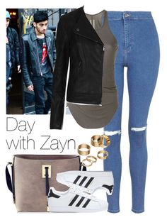 """Day with Zayn."" by welove1 ❤ liked on Polyvore featuring Topshop, Rick Owens, adidas and Apt. 9"