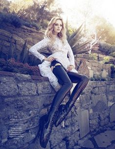Lydia Hearst in Pleaser Patent Ballet Boots by Zoey Grossman / Trendi Magazine, August 2012
